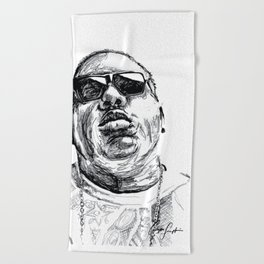 Digital Drawing 33 - Notorious B.I.G. Black and White Beach Towel