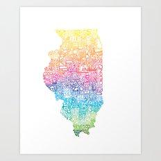 Typographic Illinois - Spring Art Print