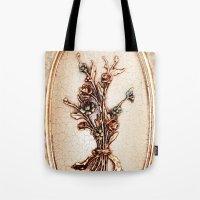 vintage flowers Tote Bags featuring Vintage Flowers by Christine baessler