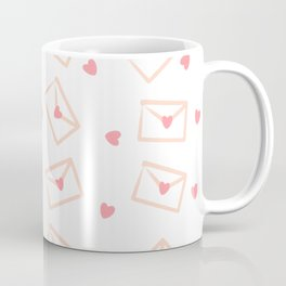 Cute cartoon hand drawn love envelopes with hearts pattern background Coffee Mug
