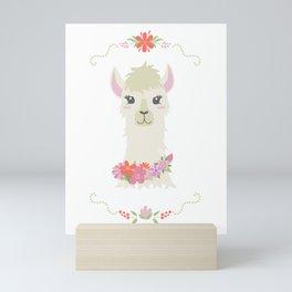 Floral Bust of a Llama Mini Art Print