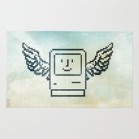 mac Area & Throw Rugs featuring pixel mac with wings by Vin Zzep