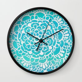 Aqua Turquoise Sparkle Doodle Pattern Wall Clock