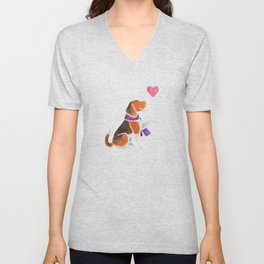 Watercolour Beagle Unisex V-Neck