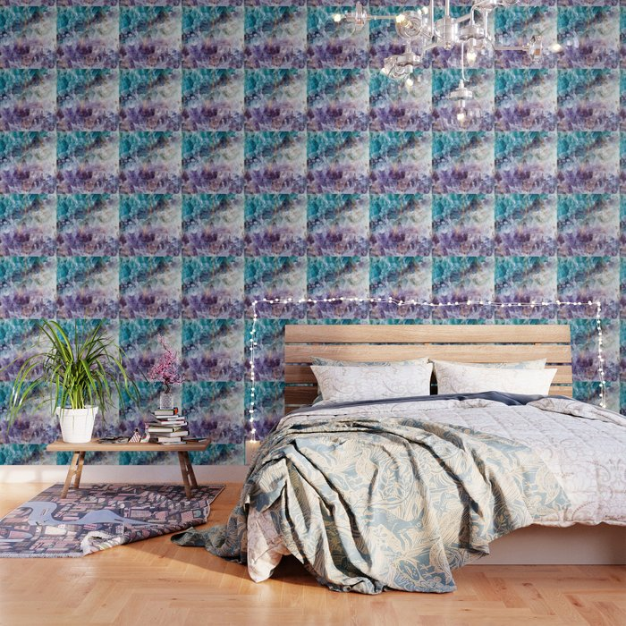 Turquoise & Purple Quartz Crystal Wallpaper by thequarry