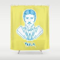 tesla Shower Curtains featuring Tesla Rockstar by Daniela Dix