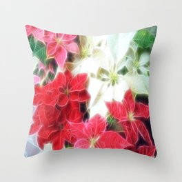 Mixed color Poinsettias 1 Angelic Throw Pillow