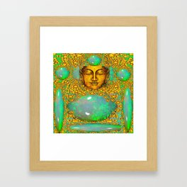 PRECIOUS GREEN FIRE OPALS & GOLD BUDDHA Framed Art Print