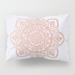 Rose Gold Mandala on White Marble Pillow Sham