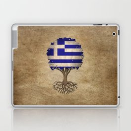 Vintage Tree of Life with Flag of Greece Laptop & iPad Skin