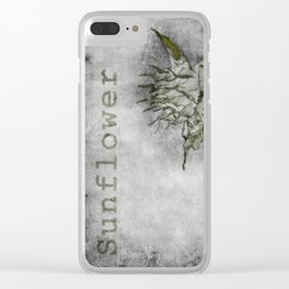 A botanical style illustration of a garden sunflower Clear iPhone Case