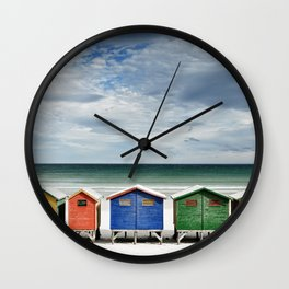 Beach Huts - Colorful houses and Sea, Cape Town, South Africa Wall Clock