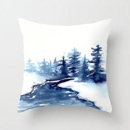 Blue Pine Trees Throw Pillow