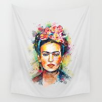 portrait Wall Tapestries featuring Frida Kahlo by Tracie Andrews