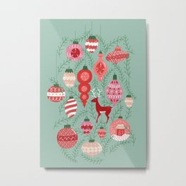 Mid-Century Ornaments in Red and Mint Metal Print