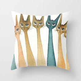 Roanoke Whimsical Cats Throw Pillow
