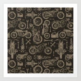 Dark Vintage Motorcycle Pattern Art Print