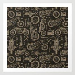 Dark Vintage Motorcycle Pattern Art Print