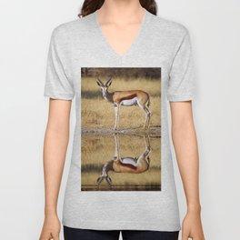 The double Springbok, Africa wildlife Unisex V-Neck