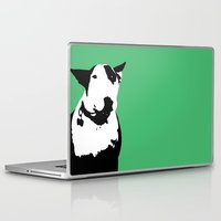 bull terrier Laptop & iPad Skins featuring English Bull Terrier by Alex Birch