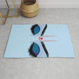 Indian god krishna eyes on blue skin Rug