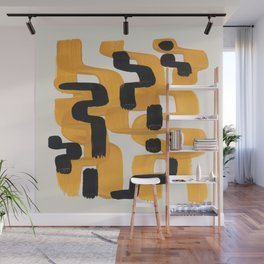 Mid Century Modern Abstract Yellow Black Mustard Funky Wiggle Pattern Wall Mural