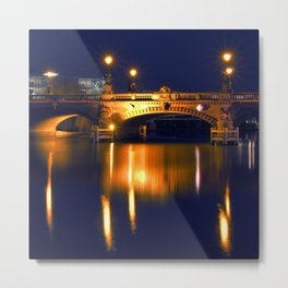Nocturnal Lights on the river Spree in Berlin Metal Print