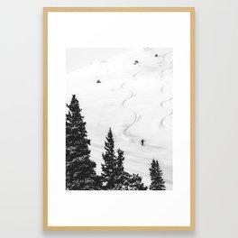 Backcountry Skier // Fresh Powder Snow Mountain Ski Landscape Black and White Photography Vibes Framed Art Print
