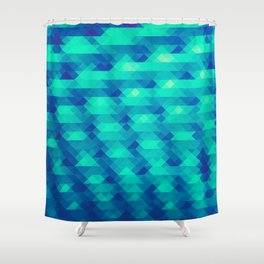 Modern Fashion Abstract Color Pattern in Blue / Green Shower Curtain