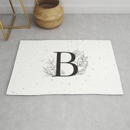 Black Letter B Monogram / Initial Botanical Illustration Rug