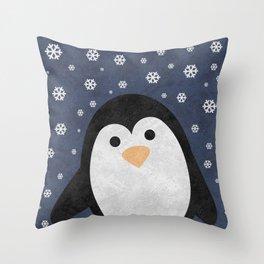 Christmas Penguin Marble Throw Pillow