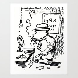 Hard-Boiled Detective Ape Shaves at the Office Art Print