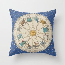 Vintage Astrology Zodiac Wheel Throw Pillow