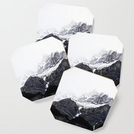Moody snow capped Mountain Peaks - Nature Photography Coaster