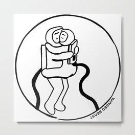 Astronauts Hugging Metal Print