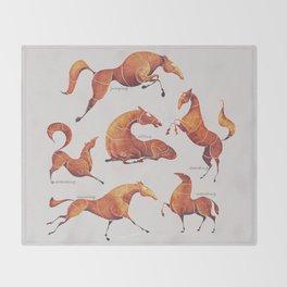 Horse poses Throw Blanket