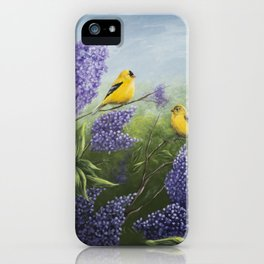 Lilacs and Goldfinches iPhone Case