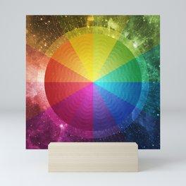 Rainbow Star in Bright Cosmic Space Mini Art Print