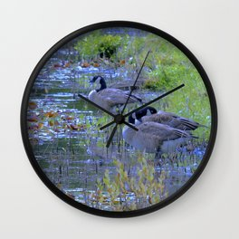 Geese in the Reeds Wall Clock