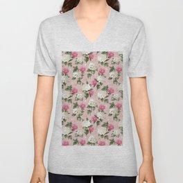 Vintage blush pink white hortensia floral illustration Unisex V-Neck