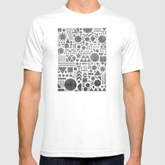 Modern Elements with Black. MEDIUM White Mens Fitted Tee