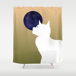 Moon and white cat Shower Curtain