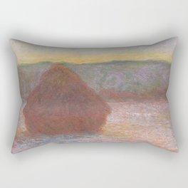 Haystacks, Thaw, Sunset (1890–1891) by Claude Monet Rectangular Pillow