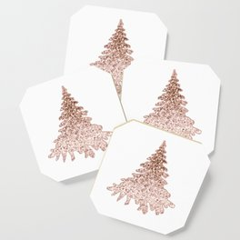 Sparkling christmas tree rose gold ombre Coaster