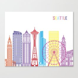 Seattle V2 skyline pop Canvas Print