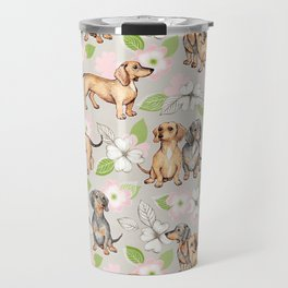 Dachshunds and dogwood blossoms Travel Mug
