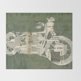 Motorcycle on newspaper, news collage art, decoration man cave, bike cut art Throw Blanket