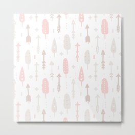Bohemian blush pink brown feathers arrows pattern Metal Print