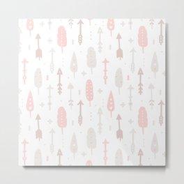 Bohemian blush pink brown feathers arrows pattern Metal Print
