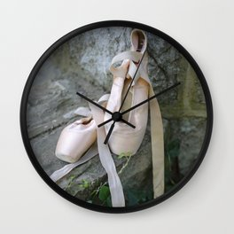 Pink Ballet Pointe Shoes on Limestone Wall with Ivy Vines 4 Wall Clock